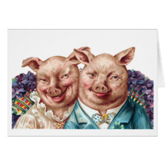 Piggy Couple Greeting Card