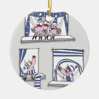 piggy forever blue ceramic ornament