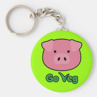 Piggy Go Veg Basic Round Button Keychain