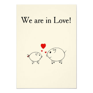 "PiGgy in Love. 5"" X 7"" Invitation Card"