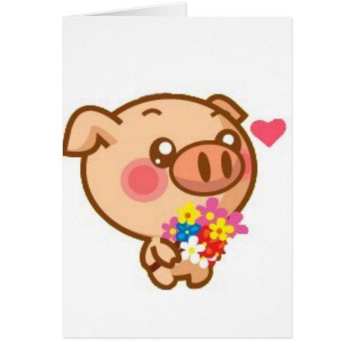 Piggy in Love Greeting Card