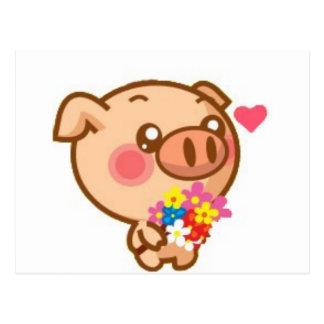 Piggy in Love Post Cards