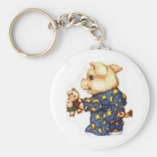 piggy in pjs basic round button keychain