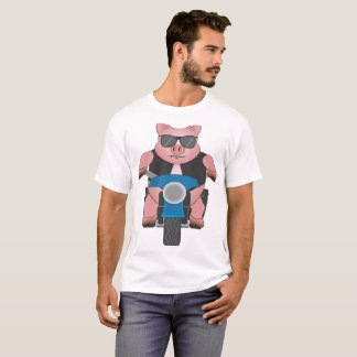 Piggy on a motorcycle: front and back T-Shirt