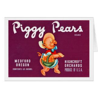 Piggy Pears Greeting Card