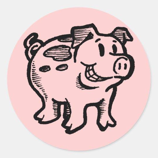 Piggy Pig Classic Round Sticker
