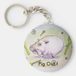 piggy, Pig Out ! Basic Round Button Keychain