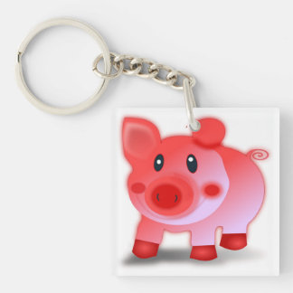 PIGGY PIGLET Double-Sided SQUARE ACRYLIC KEYCHAIN