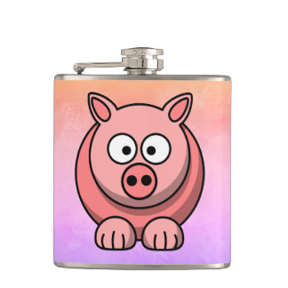 Piggy Piglet Little Pink Pig Cute Pastel Hip Flask