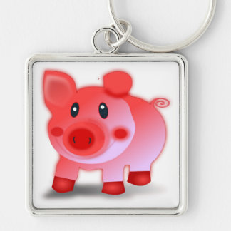 PIGGY PIGLET Silver-Colored SQUARE KEYCHAIN
