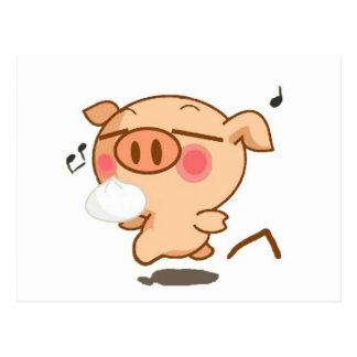 Piggy Pirouettes Postcard