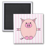 Piggy Power - Pink Piggies and Stripes Refrigerator Magnet