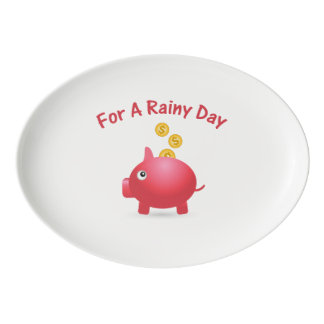 Piggy Saving For A Rainy Day Porcelain Serving Platter