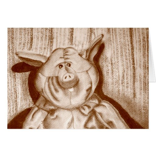 Piggy Stuffed Animal Brown Charcoal Drawing Cards