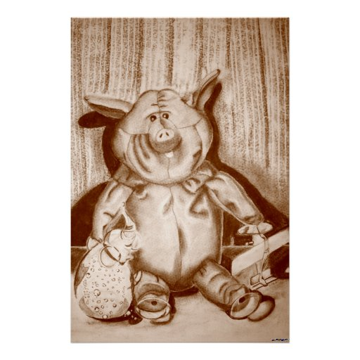 Piggy Stuffed Animal Brown Charcoal Drawing Poster