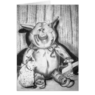 Piggy Stuffed Animal Charcoal Drawing Greeting Cards