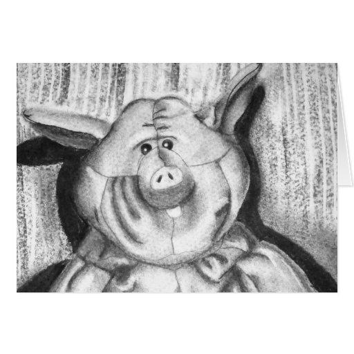 Piggy Stuffed Animal Charcoal Drawing Greeting Card