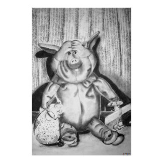 Piggy Stuffed Animal Charcoal Drawing Posters