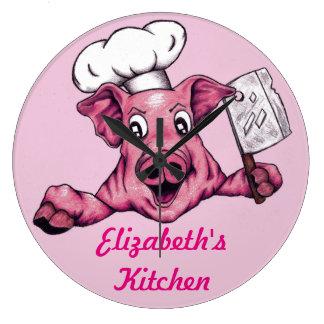 Piggy The Hamicidal Maniac Funny Chef Pig Art Clocks