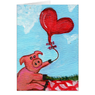 Piggy with Heart Shaped Balloon Greeting Card