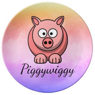 PiggyWiggy Little Pigling Pastel Cute Piglet Plate