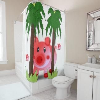 piglet pink children's showercurtain white