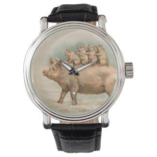 Piglets Take a Ride - Fun Vintage Watch