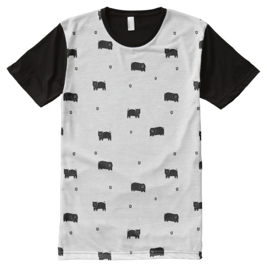 Pigs and Apples Pattern All-Over-Print T-Shirt