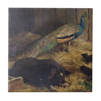 Pigs and Peacock by Charles Burton Barber in 1878 Tile