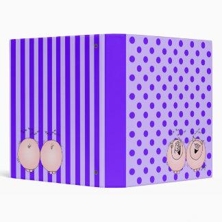 Pigs, and purple stripes, polka dots vinyl binders