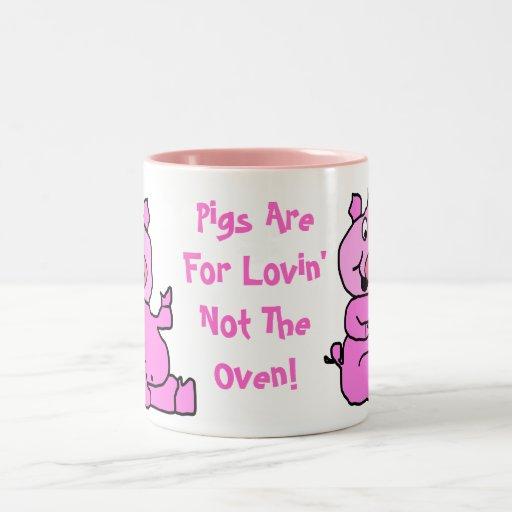 """Pigs Are For Lovin"" Pink Cartoon Pig Ceramic Mug"