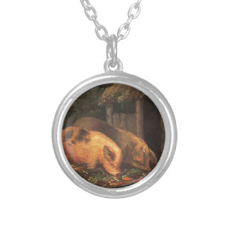 Pigs at a Trough by George Morland Round Pendant Necklace