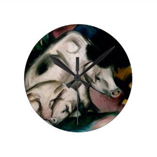 Pigs, c.1912 (oil on canvas) clocks