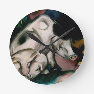 Pigs, c.1912 (oil on canvas) round clock