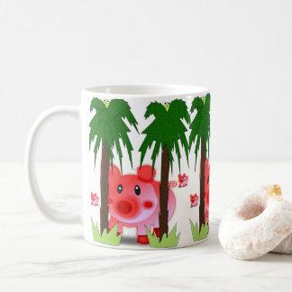 Pigs colorful sunny children's mug white