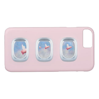 Pigs Fly Past Airrplane Windows iPhone 8/7 Case