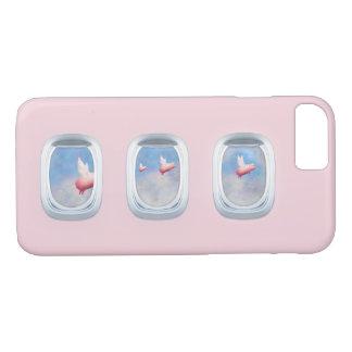 Pigs Fly Past Airrplane Windows iPhone 8/7 Case