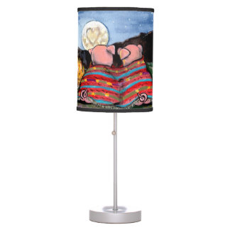 """Pigs in a Blanket"" Lamp, Romantic Pigs and Moon Table Lamp"