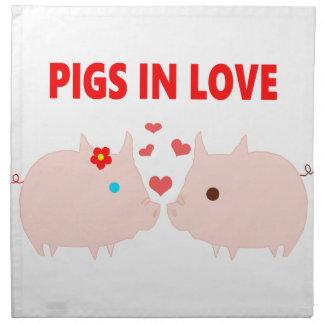 pigs in love napkin