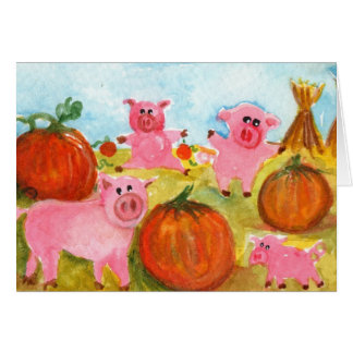Pigs in Pumpkin Patch Card