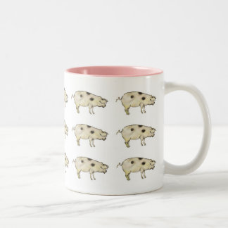 Pigs in rose Two-Tone coffee mug