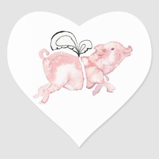 Pigs May Fly Heart Sticker
