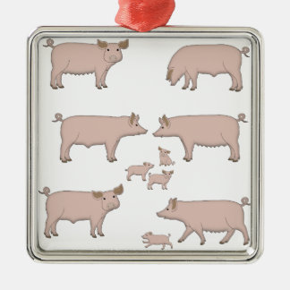 pigs metal ornament
