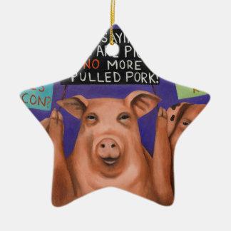 Pigs On Strike Ceramic Ornament