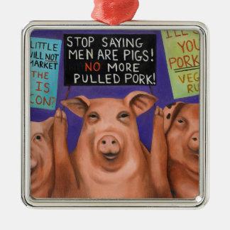Pigs On Strike Metal Ornament