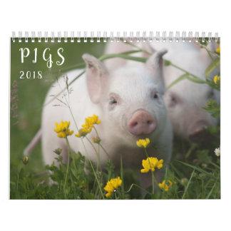 Pigs Wall Calendar - Smile in 2018