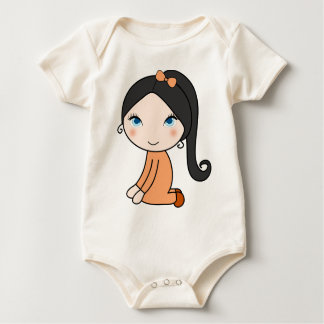 Pigtail hair girl cartoon baby bodysuit