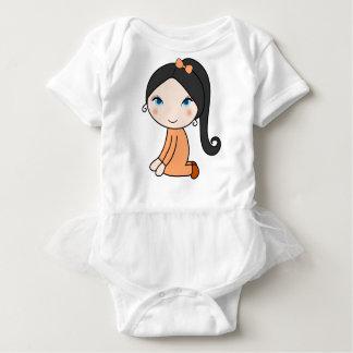 Pigtail hair girl cartoon baby bodysuit