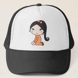 Pigtail hair girl cartoon trucker hat