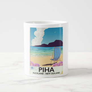 Piha New Zealand vintage travel poster Large Coffee Mug